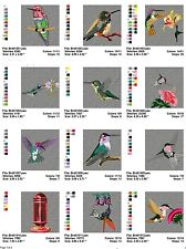 Hummingbirds 1, 24 embroidery machine designs on CD, Multi Formats available