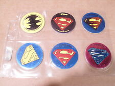 POGS SUPERMAN (5) and BATMAN(1) EMBLEMS, LOGOS? DC COMICS