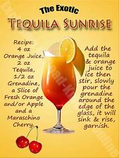 Tequila Sunrise Cocktail, Recipe, Cafe Pub Hotel, Wine Bar, Small Metal/Tin Sign