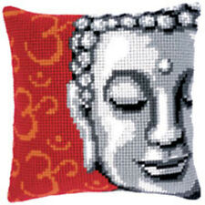 "Buddha Chunky Cross stitch cushion front kit 16x16"" tapestry canvas 4.5hpi"