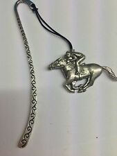 Race Horse & Jockey PP-E20 Pattern bookmark with cord 3D English pewter charm