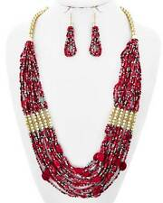 Multi Strand Multi Red Glass Seed Bead Lucite Bead Gold Tone Long Necklace Set