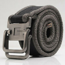 Men Canvas Stripe Belt Webbing Metal Buckle Woven Military Army Tactical Combat