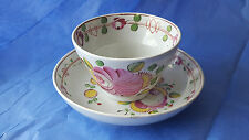 Antique Queens Rose Cup & Saucer Staffordshire Pearlware China Hand Painted