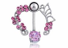 Rhinestone Belly Button Ring Pink Butterfly Charm Surgical Steel USA SELLER