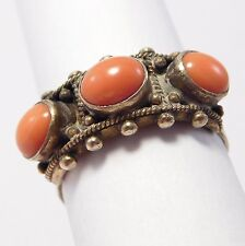 CHINESE VERMEIL CORAL RING OLD ORNATE