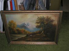 """Antique Mountain Lake Landscape Oil Painting - framed - 16 3/4""""h x 22 3/4""""w"""