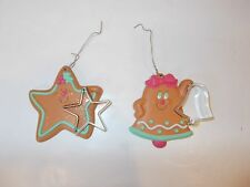 christmas tree ornament bell star ginger bread cookies cutters cookie pink green