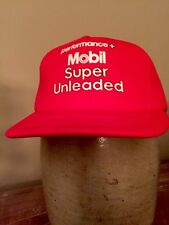 VINTAGE 1980S MOBIL SUPER UNLEADED PERFORMANCE TRUCKER SNAPBACK HAT  Insulated