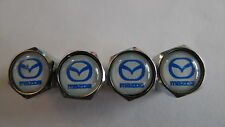 4 X White/Blue MAZDA - Chrome Metal Car Tyre Tire wheel Valve Stems Caps AUS