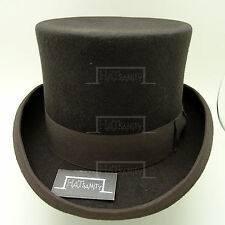 VINTAGE Wool Felt Topper Top Hat Men FORMAL Tuxedo Victorian | 59cm | Olive