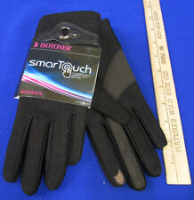 Isotoner Smart Touch Black Gloves Phone Screens Pointer Thumb Wool M/L Belt