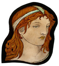 Pre-Raphaelite stained glass fragment, ginger girl, glasspainting, classic glass