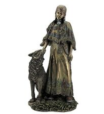 "12"" Native American Indian Woman Petting Wolf Statue Figurine India North"