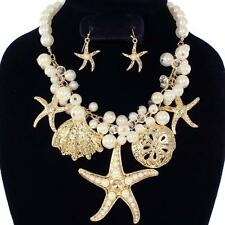 Ocean Cruise Beach Wedding Starfish Shell Faux Pearl Clear Bead Necklace Set Gld