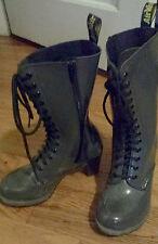 Dr. Martens Women`s Dee Diva 14 Eye Zip Heel Boot Black Patent US 7 EU 38 UK 5