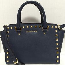 NEW Michael Kors MD Selma Gold Stud Navy Saffiano Leather Satchel Handbag $328