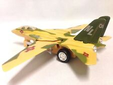 "F-14 Tomcat Aircraft U.S. Navy Military, 7"" Diecast Pull Back To Go Toys Yellow"