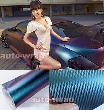"Bidding 12"" x 60"" 3D Car Chameleon Carbon Fiber Vinyl Wrap Sticker Green Purple"