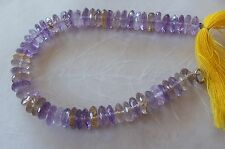 "7"" Strand Light Ametrine Gemstone Faceted Wafer Rondelle Beads 8mm"