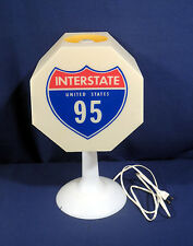 Vtg Interstate Highway 95 Table Lamp with Stop Picnic Area One Way Signs Works!