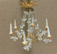 Miniature Crystal CHANDELIER HANDING LIGHT / LAMP Non-Electric Dollhouse 1:12