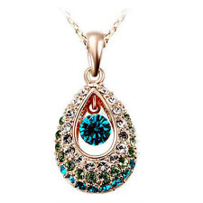 Beautiful Gold with White, Green and Blue Rhinestones Pendant Necklace N226
