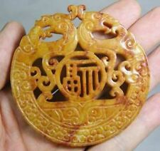 CHINESE OLD HANDWORK CARVE YELLOW JADE DRAGON PENDANT A