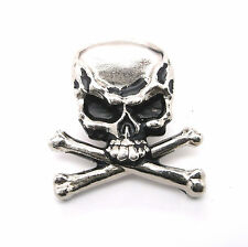 "Skull and Crossbones Nickel Plated 1.25"" Concho 2039-21 by Stecksstore"