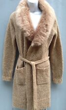 Vintage Open Front Cardigan Wool/Mohair Sweater with Faux Fur Collar Tan Sz PM