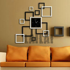 New DIY Large Wall Clock Home Office Room Decor 3D Mirror Surface Stick O6