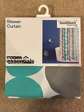 Room Essentials Blue Gray Circles Fabric Shower Curtain 72x72 aqua teal gray