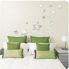 Silver Stars Pattern Mirror Removable Decal Art Mural Wall Sticker Decor DIY