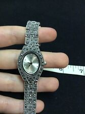 "FREE GIFT with Marcasite sterling silver vintage watch, handmade,  7.5"" analog"