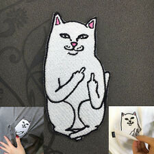 Embroidery Funny Middle Finger Cat Sew Iron On Patch Badge Fabric Applique DIY