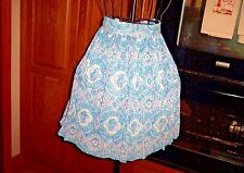 VINTAGE WOMENS FLORAL MULTI-COLOR PLEATED BLUE PRINT HALF APRON
