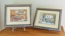 Set of 2 Janet Kruskamp Bathroom Pictures (Vintage Bathtubs)