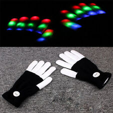 Neu LED Rave Flashing Glow Gloves Light Up-Finger-Licht Schwarz Weiß