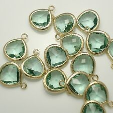 Faceted Framed Glass Pendants Earrings Findings Connectors Silver Gold Plated #5