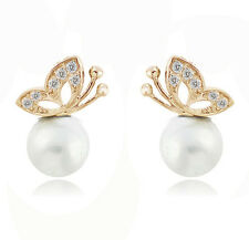 Bridal White Pearl & Gold with Rhinestones Butterflies Stud Earrings E498