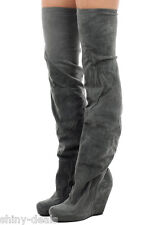 RICK OWENS New Woman Gray Suede Leather MANGA WEDGE BOOTS Shoes Sz 41 it $1319