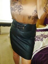 BLACK Faux Leather SKIRT wiggle mistress shiny ultra femme size 20 waist 42""