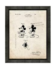 Disney's Mickey Mouse Patent Print Old Look in a Beveled Black Wood Frame