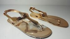 size 7 Michael Kors MK Plate Jelly Rose Gold PVC Flat Thong Sandals Shoes