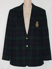 Lauren Ralph Lauren Green Plaid Wool Gold Crest Blazer Size 8