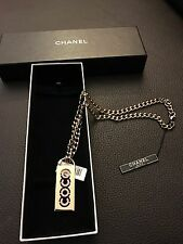 CHANEL CC COCO Medallion Pendent Charm Gold Chain Swarovski Crystals Necklace