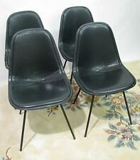 Set of Four Original 1960s Herman Miller DKX-1 Chairs; Black Leather Seats