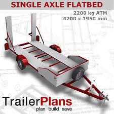Trailer Plans - 2200kg SINGLE AXLE FLATBED CAR TRAILER PLANS - PLANS ON CD-ROM