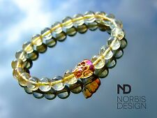 Men's Citrine Skull Bracelet with Swarovski Crystal 7-8inch Elasticated Healing
