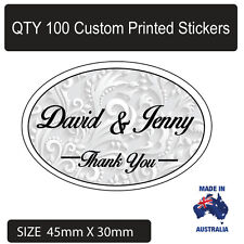 100 x Personalised Thankyou Wedding Bomboniere Envelope  Sticker Seals Labels